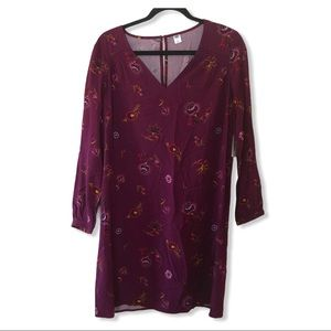 🌟OLD NAVY Long Sleeve Tunic Dress Floral Burgundy